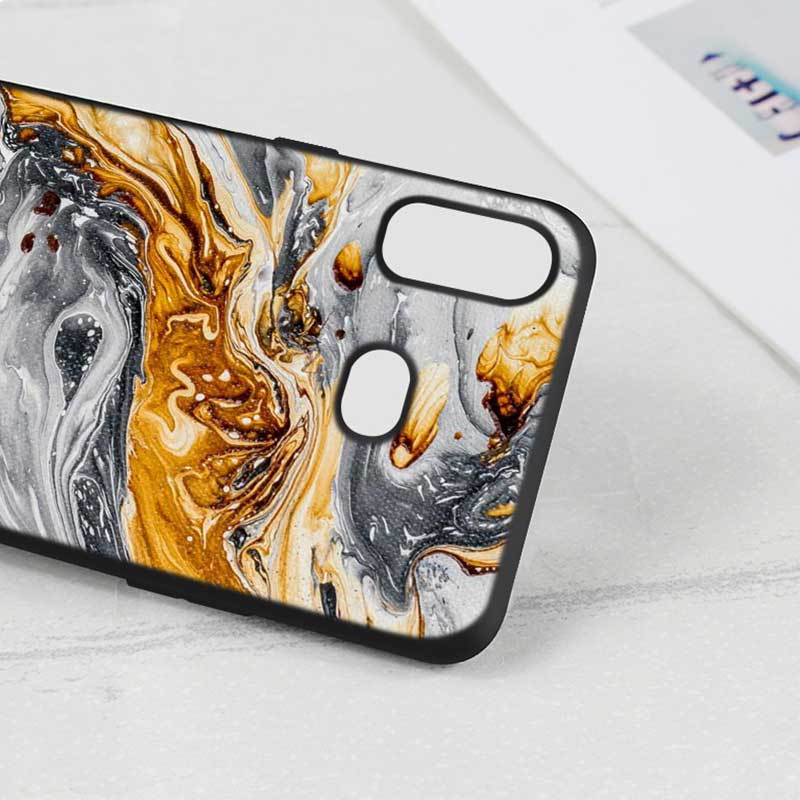 For Samsung A6S A8S A6 A7 A8 A9 A5 A3 Star Plus 2018 2017 2016 Black Silicon Phone Case Black white watercolor textures Style in Fitted Cases from Cellphones Telecommunications
