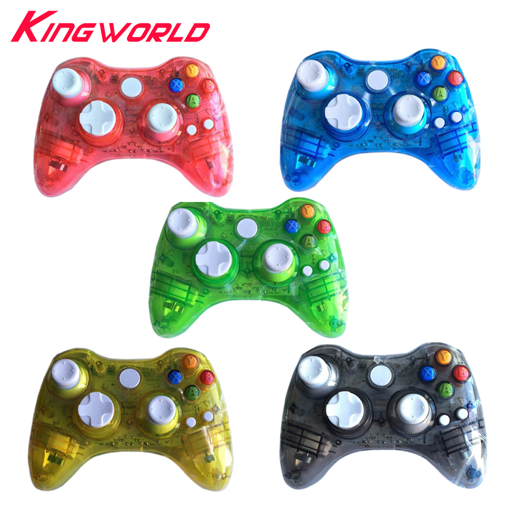 все цены на Transparent Wireless Controller Game Remote Controller Gamepad joystick with LED Light for Microsoft for Xbox 360 онлайн