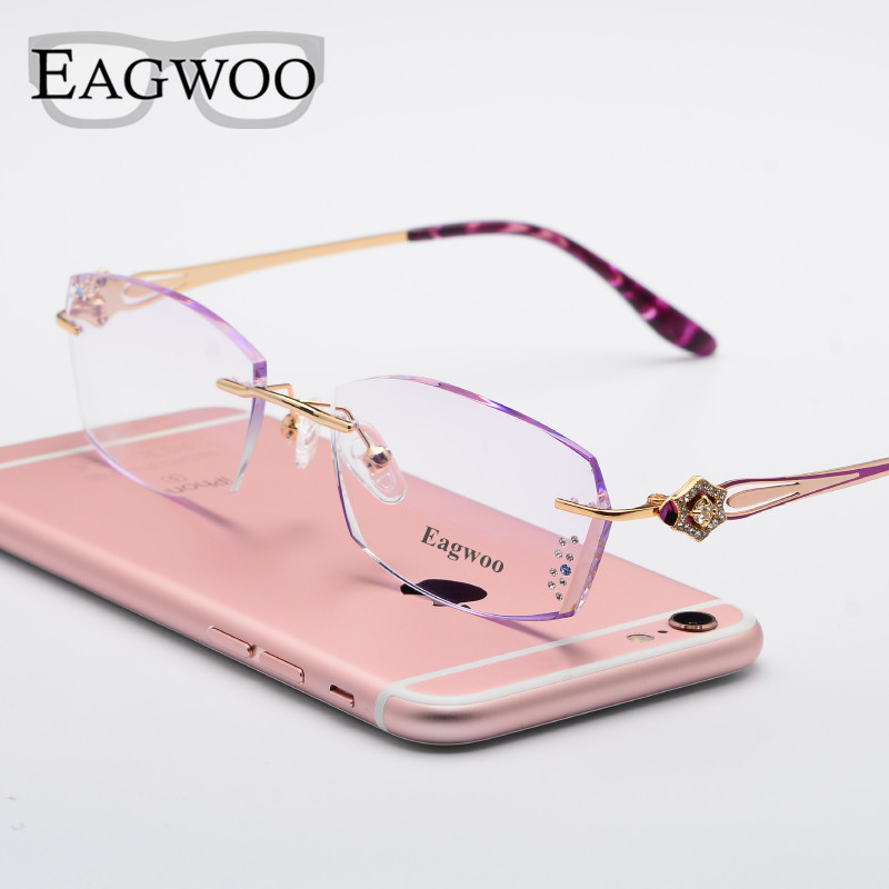 0c7cf39904 Woman Designed Rimless Prescription Glasses Reading Myopia Use MR 8 Diamond  Eyeglasses With Tinted Colorful Lenses 1002-in Eyewear Frames from Women s  ...