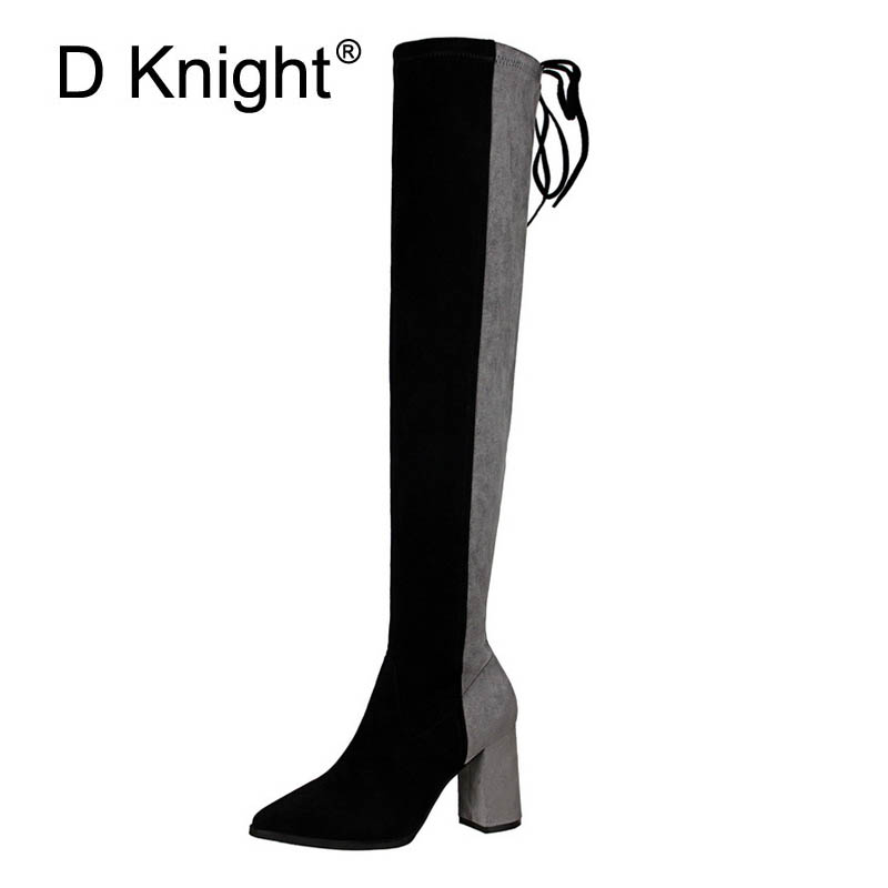 Ladies Casual High Heels Over The Knee Boots New Fashion Pointed Toe Square Heels High Autumn Winter Boots For Women Botas Woman thin heels full grain leather over the knee boots sapatos femininos pointed toe fashion boots ladies shoes woman