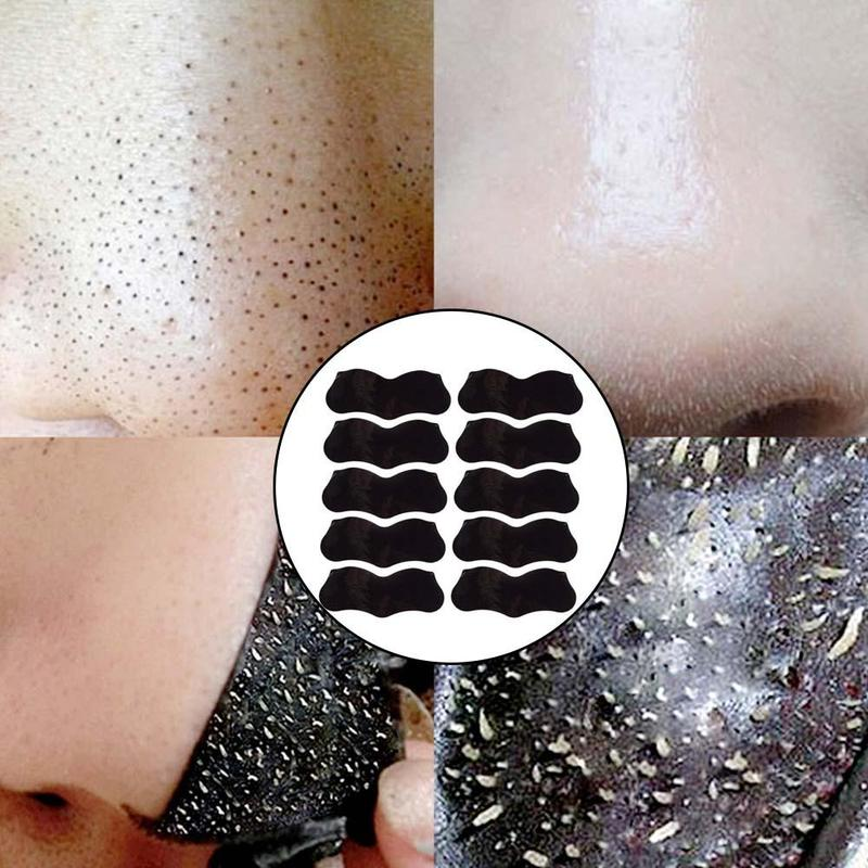 10PCS Bamboo Charcoal Blackhead Remover Deep Nose Pore Cleasing Strip Nose Sticker Pig Nose Mask Charcoal Pore Strip Deep Clean
