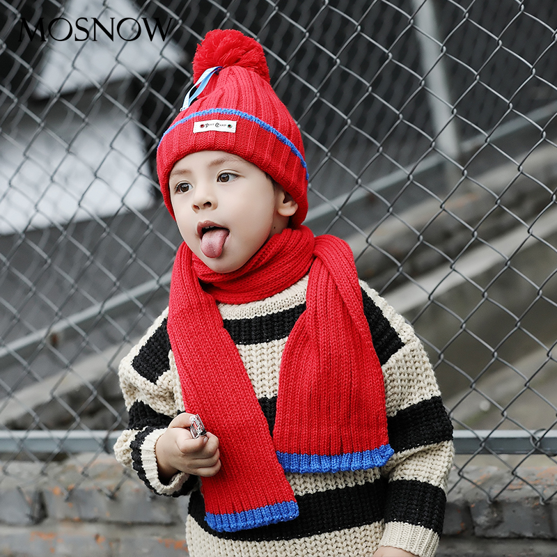 Children Hats And Scarfs Set Winter Solid Pompom Fashion High Quality 2019 Brand New Hot Warm Knitted Caps Bonnet #MZ876
