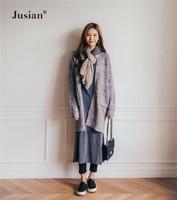 Jusian Women's Fashion Autumn Long Sleeve Thick Loose Cardigans Winter Knitwear Long Sweaters Coat Grey 809