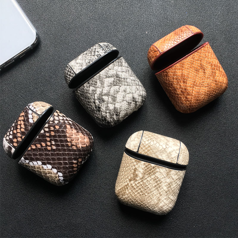 Snake Skin PU Leather Earphone Case For Apple Airpods Bluetooth Headset Protective Shockproof Cover For Air Pods Storage Bags
