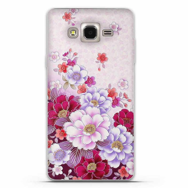 Çiçek baskı kılıfları Samsung Galaxy On7 kapak kılıf 7 Mega O7 G600 G6000 koruyucu cilt yumuşak kauçuk cep telefonu çanta