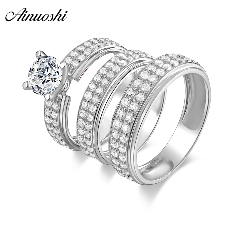AINUOSHI 925 Sterling Silver Couple Wedding Engagement 4 Prongs Rings Set Round Cut Men Anniversary Lover Promise Ring Set Gift one piece sweet openwork footprint lover couple ring