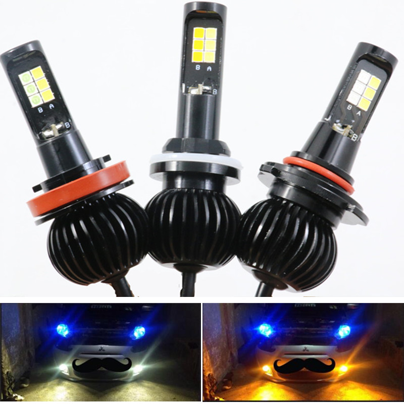 H1 Led H3 H7 H11 H8 9005 9006 HB3 HB4 H27 880 881 Car Fog Bulb Dual Color White Yellow Blue / Ice Blue 12v 2600lm 6000k