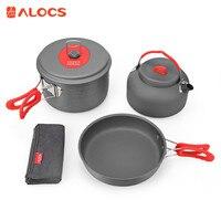 ALOCS Outdoor Camping Cook Set Picnic Alumina Cooking Kit Cookware Set Portable Ultralight 2 3 People Cookware Set Pot Pan