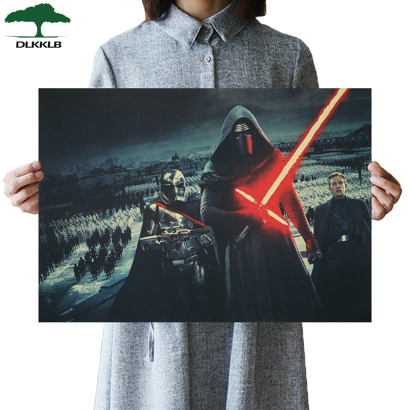 DLKKLB Star Wars Poster Vintage Classic Movie Wall Sticker Kraft Paper Bar Cafe Home Decorative Painting 51.5x36cm Bedroom Decor