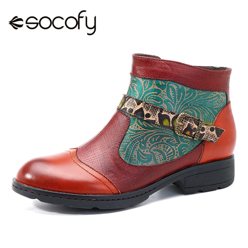 Socofy Retro Printed Genuine Leather Ankle Boots For Women Shoes Woman Shoes Autumn Winter 2018 Vintage Snow Boots Botas Mujer mabaiwan retro brown ankle boots for women metal decor autumn winter botas mujer genuine leather platform rubber shoes woman