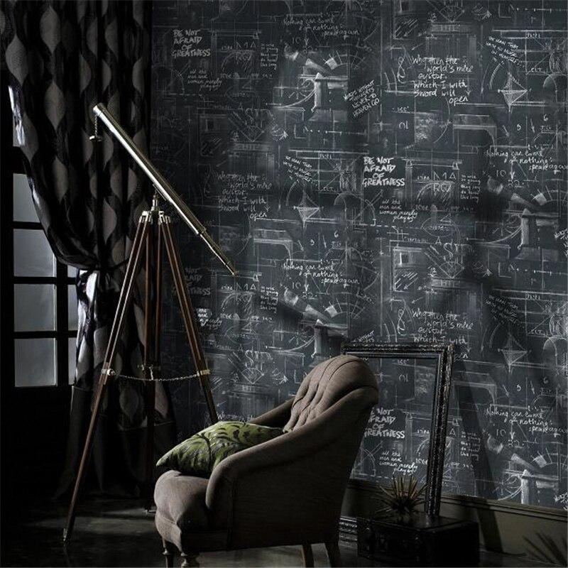Beibehang papel de parede 3D Poster moderne lignes abstraites noir tableau noir vintage papier peint rouleau papier peint pour murs 3 d
