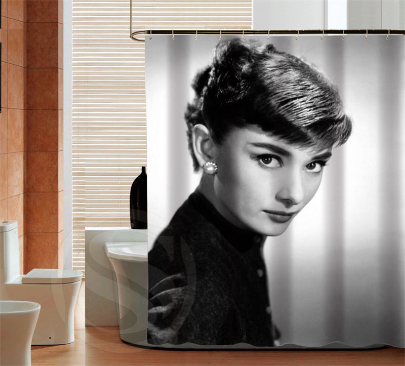Audrey Hepburn Custom Shower Curtain Bathroom beautiful Acceptable Personalized Curtains Best Bath Decor