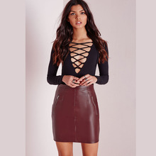 JXDINOY Female Sexy Summer 2017  Fashion Zipper Skirts Woman Stylish  Pocket Bodycon PU Leather short Skirt JX8124
