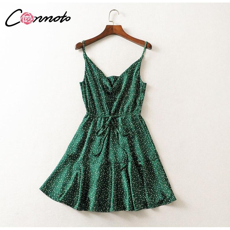 Conmoto 19 Summer Fashion Strap Backless Stain Short Dress Women Casual High Street Polka Dot Dress Beach Holiday Vestidos 9