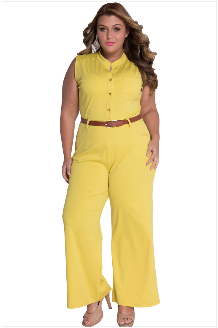 2017 Fashion Sexy 7 colors Belted Wide Leg Jumpsuit Rompers Womens Jumpsuit LC60932 plus size S M L XL XXL