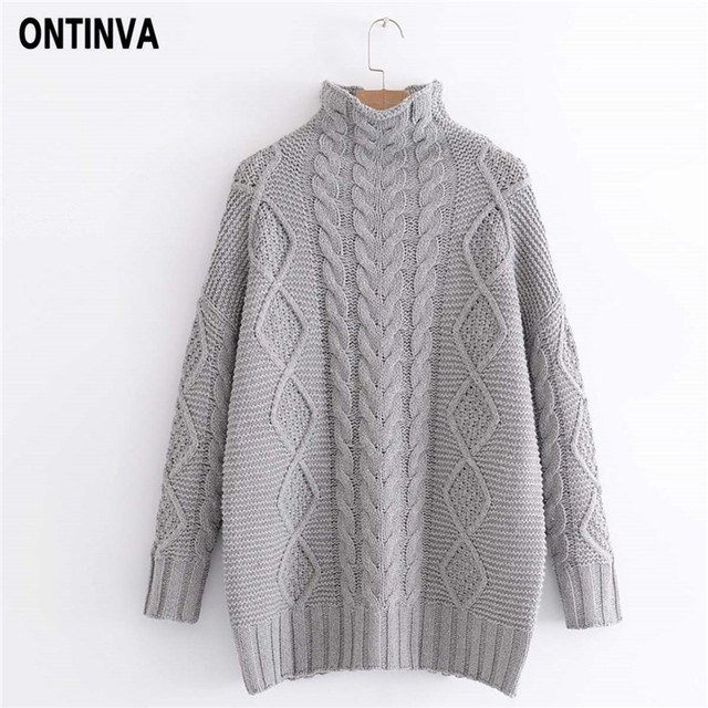 4c7b4027c3ba18 Twist Pattern Knitted Women Long Sweater Vintage Oversized Loose Sweaters  Tops Woman Mandarin Collar Long Sleeve Pullover Jumper
