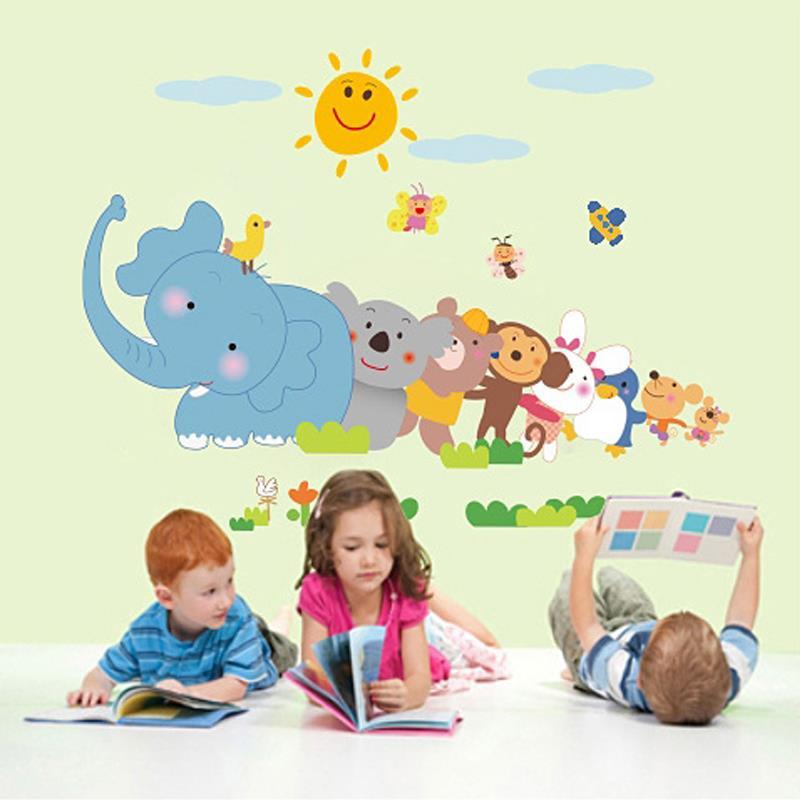 Buy 44x25cm cute elephant monkey wall for Animal mural for kids