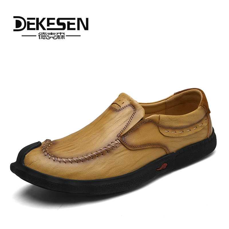 цена на DEKESEN 2018 New Men Slip-on Casual Shoes Moccasins Leather Loafers Men Breathable Shoe Boat Moc Toe Slip-on Driver Shoes Flats