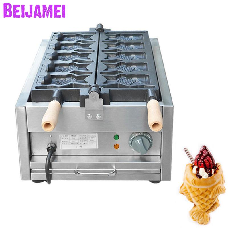Ev Aletleri'ten Waffle Makineleri'de BEIJAMEI 5 adet Açık Ağız ticari taiyaki makinesi waffle makinesi 110 v 220 v dondurma taiyaki yapma makinesi fiyat title=