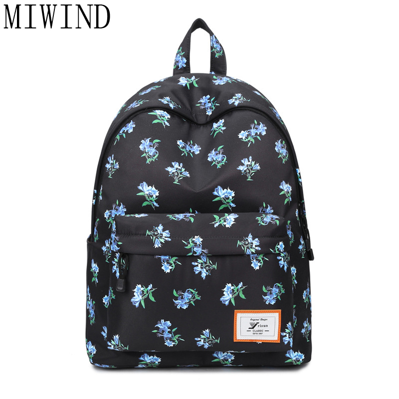 MIWIND Floral laptop backpack school bags for teenagers mochila masculina fashion bookbag backpacks rugzak sac a dos TJQ961 psycho pass backpack black oxford men laptop bags 14inch bookbag for high school backpacks