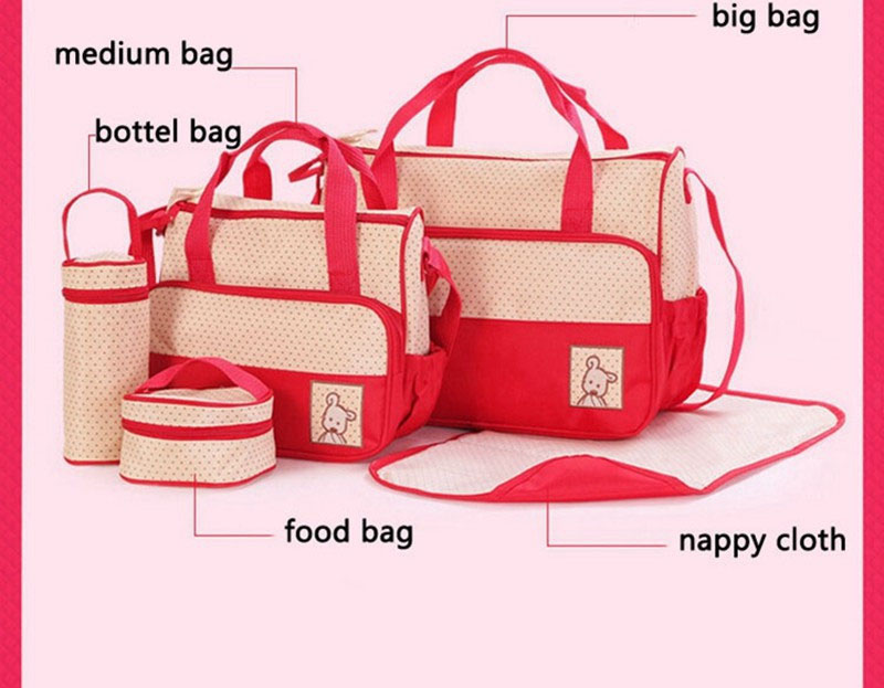 HTB1uZMzVrvpK1RjSZFqq6AXUVXaa MOTOHOOD 39*28.5*17CM 5pcs Baby Diaper Bag Suits For Mom Baby Bottle Holder Mother Mummy Stroller Maternity Nappy Bags Sets