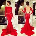 Vestido vestido de baile vestidos de gala Vestido de Noite Sexy Backless Abrir Low Back Lace Sereia Vermelho Longo Vestidos de Baile Elegante