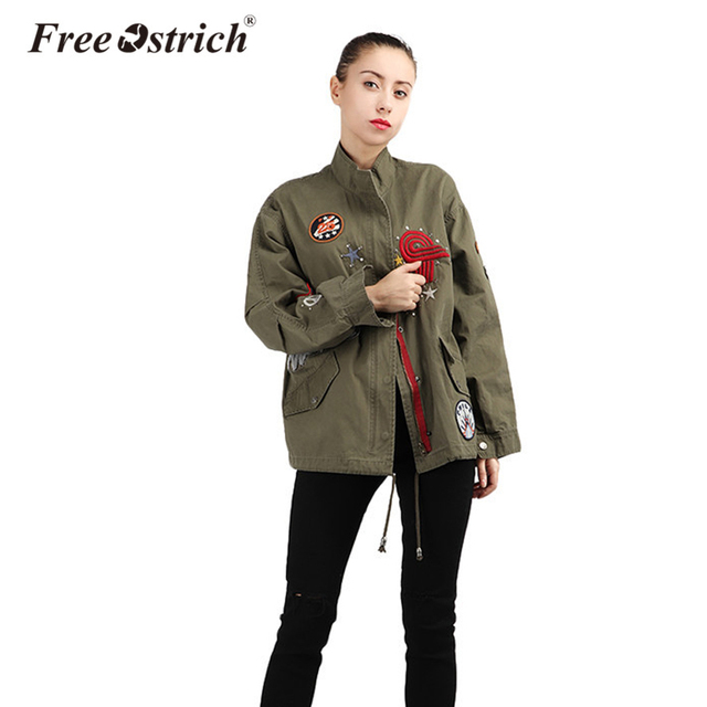30c514747 Free Ostrich 2019 Autumn Winter Bomber Jacket Women Army Green Motorcycle Military  Style Feminina Embroidery Coat