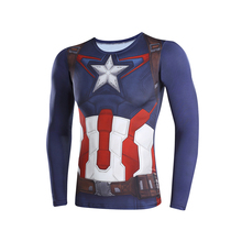 captain America 3 3D t-shirts digital printing compressed t-shirts men long sleeve  Deadpool Superman iron Man  model