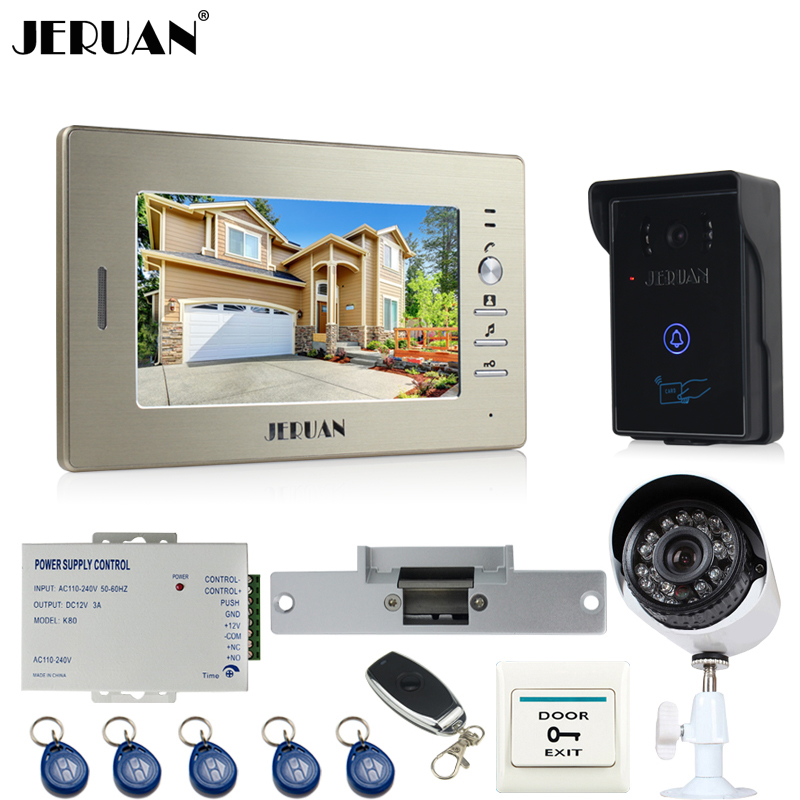 JERUAN NEW 7 inch LCD video door phone intercom System monitor brand new RFID waterproof Touch  Camera+700TVL Analog Camera brand new wired 7 inch color video door phone intercom doorbell system 1 monitor 1 waterproof outdoor camera in stock free ship
