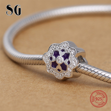 925 Sterling Silver CZ Purple Flower Love Beads For Women Fit Original pandora Charms Bracelet Fashion DIY Jewelry for women