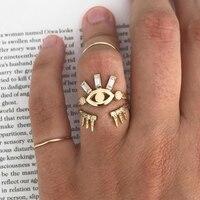 Bls-miracle Boho or géométrique Midi anneau ensemble pour femmes nouveau Anillos Vintage cristal couronne oeil forme Knuckle anneaux femme bijoux