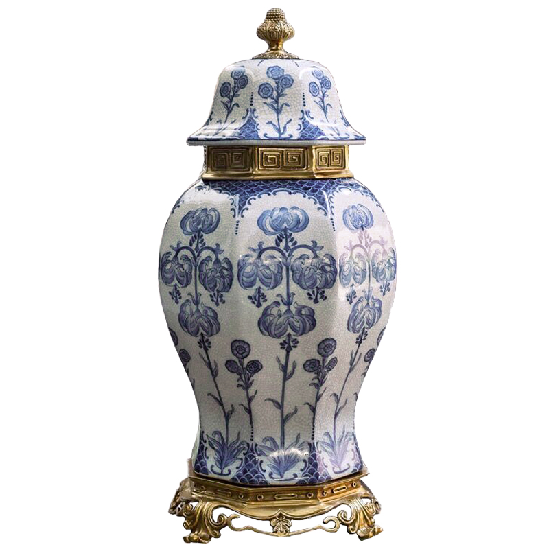 Chinese blue and white porcelain general jar home large, American decorative copper European style ornaments living room luxurio