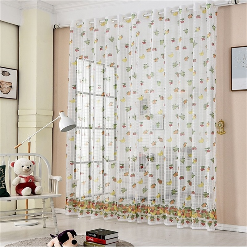 Finished Fruit Printing Curtain Tulle For Living Room Bedroom Children 39 s Room Window Screening kitchen Sheer Curtain T171 4 in Curtains from Home amp Garden