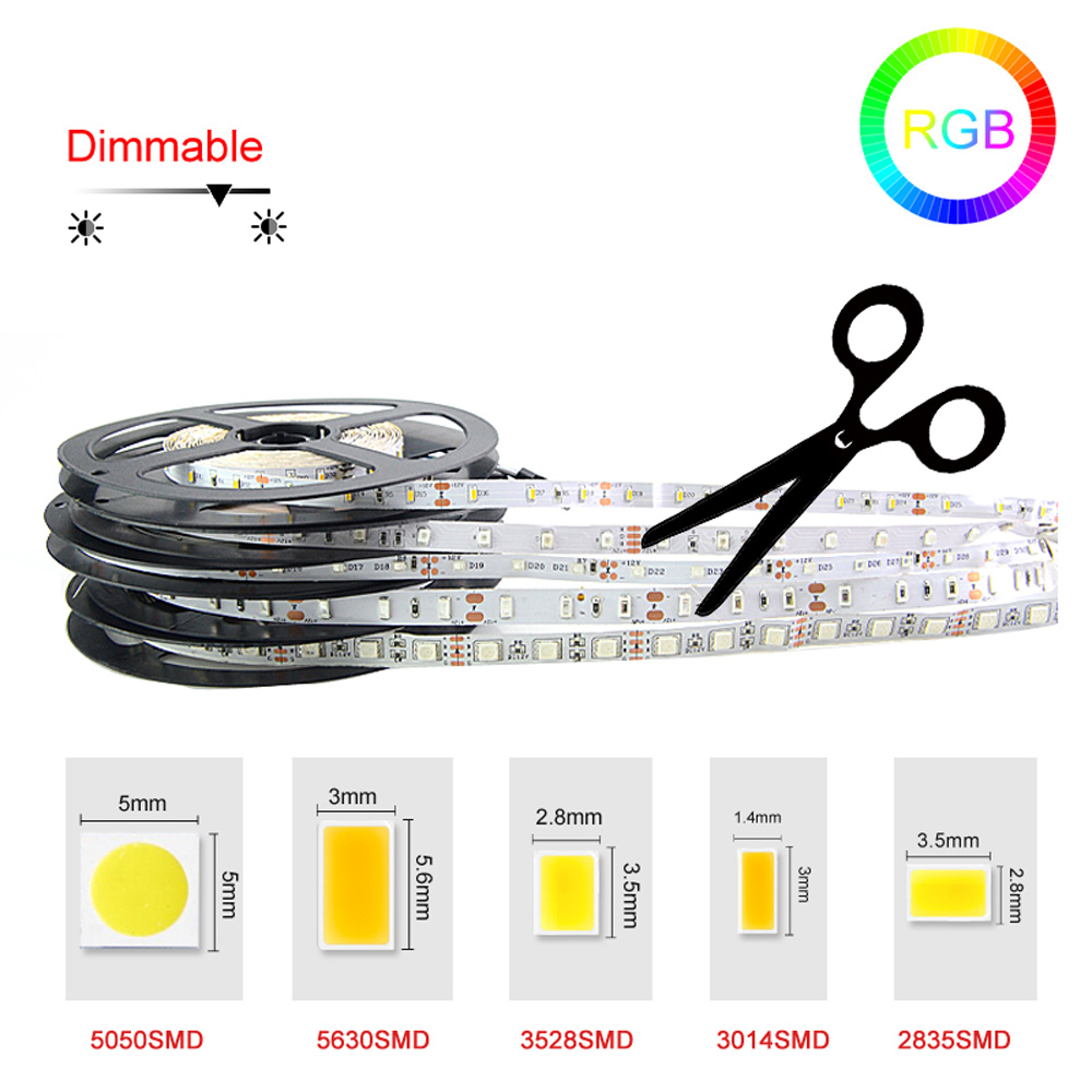 Led Strip 3528 5050 5630 3014 SMD Strip Light 5 M 300 LED Non Waterproof Fleixble Strip W/WW /Red/Y/B/G/RGB Color Free Shipping