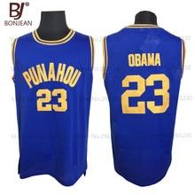 2017 BONJEAN Mens Basketball Jerseys 23 Barack Obama Jersey Punahou High School USA President Cheap Throwback