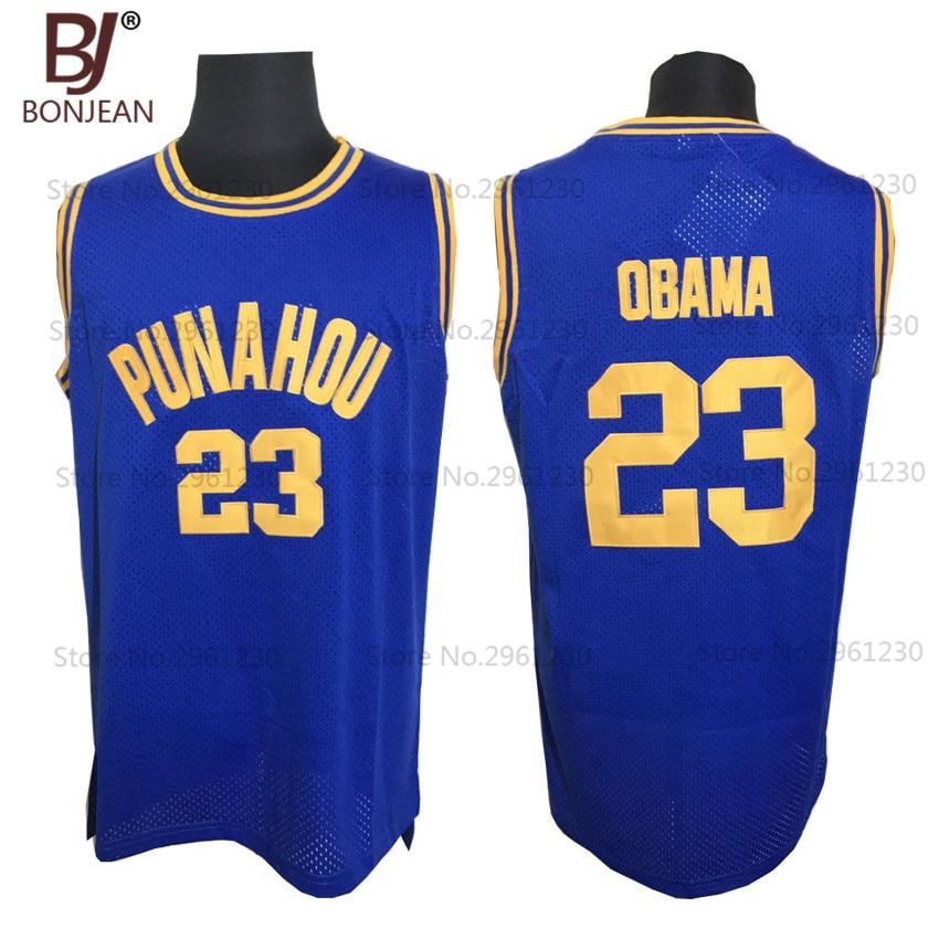 2017 BONJEAN font b Mens b font Basketball Jerseys 23 Barack Obama Jersey Punahou High School