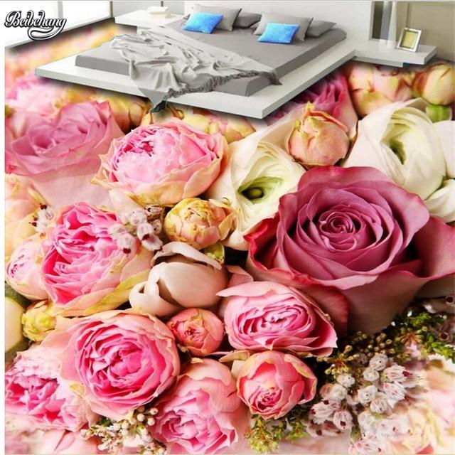 beibehang Beautiful pink roses sea living room 3D floor tiles custom ...