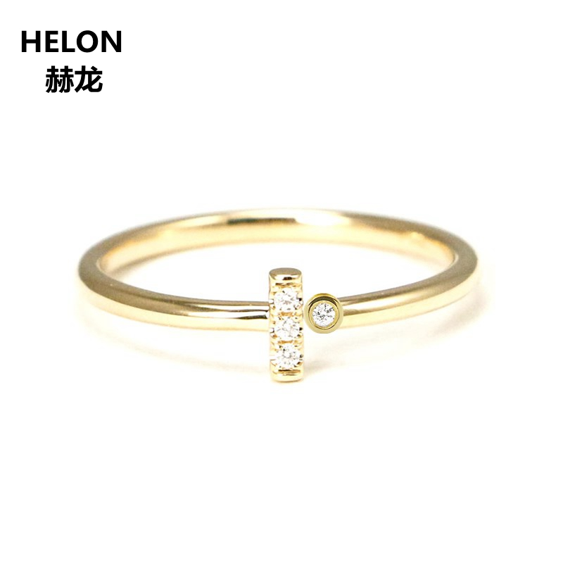 Solid 14k Yellow Gold SI/H Natural Diamonds Engagement Ring Anniversary Wedding Band Fine Jewelry Trendy solid 14k white gold engagement ring for women 100% si h natural diamonds wedding band millgrain v shape trendy jewelry