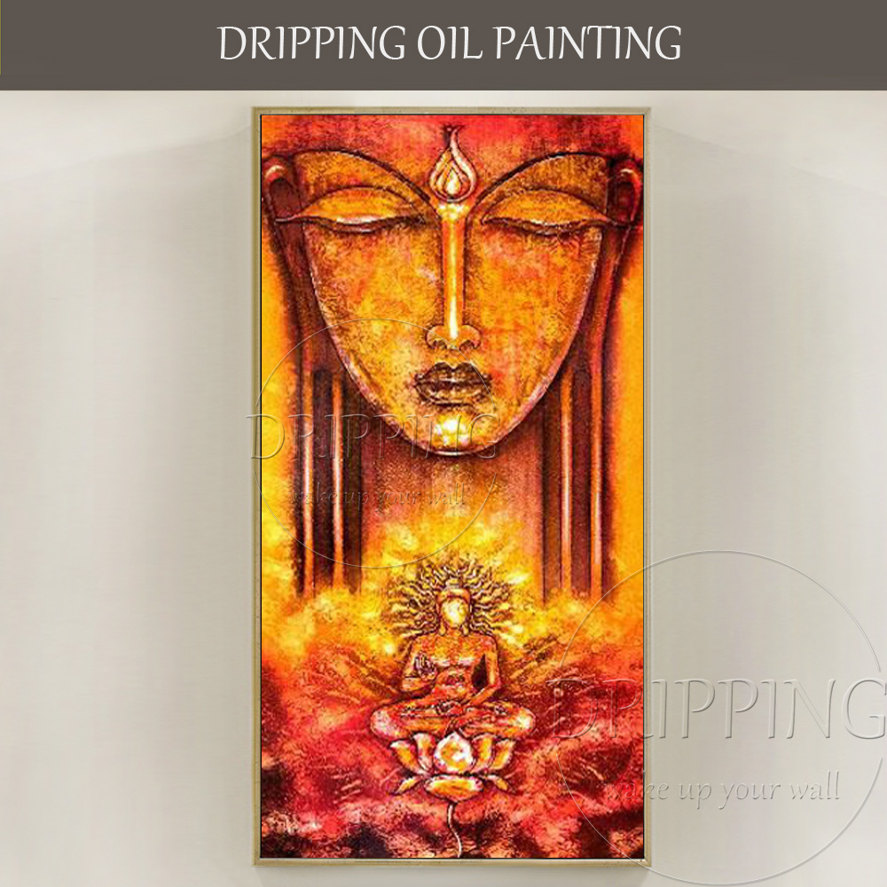 New Arrivals Artist Hand-painted High Quality Buddha Oil Painting on Canvas Indian Buddha Figure Oil Painting for Living Room