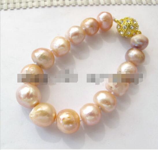 Livraison Gratuite>>>>> Naturel Rose Nugget baroque Perle D'eau Douce Bracelet Aimant Cristal Fermoir 8