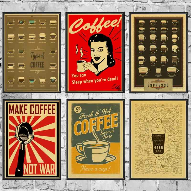 Vintage Retro Coffee posters kraft wall paper High Quality Painting For Home/ Wall/Room/Bar Decor