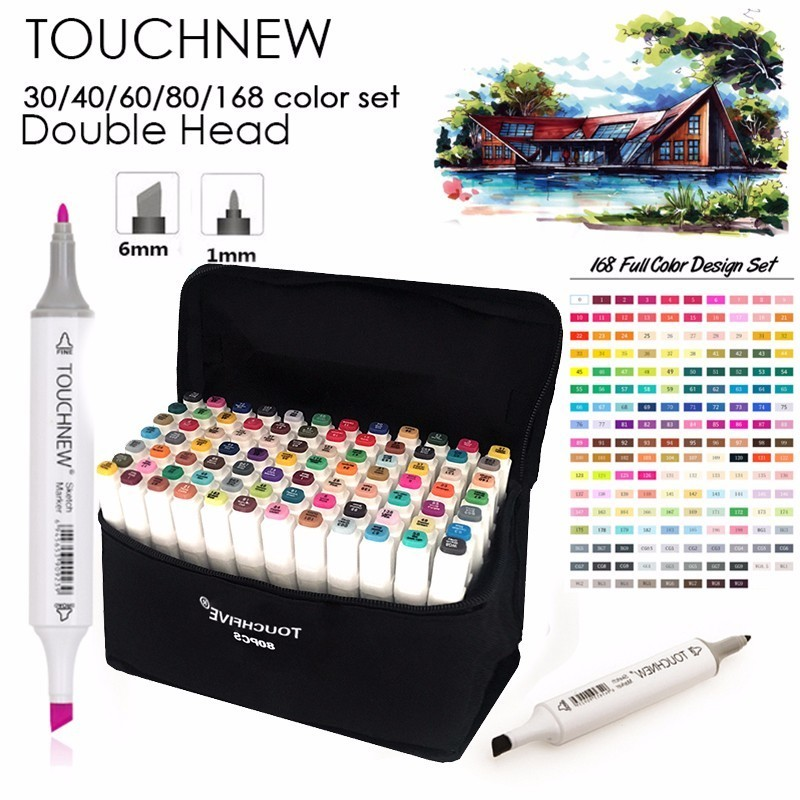 TOUCHNEW 30/40/60/80 Colors Marker Art Set Alcohol Based Manga Brush Drawing Professional Sketch Markers Pen Art Supplies touchnew markery 40 60 80 colors artist dual headed marker set manga design school drawing sketch markers pen art supplies hot