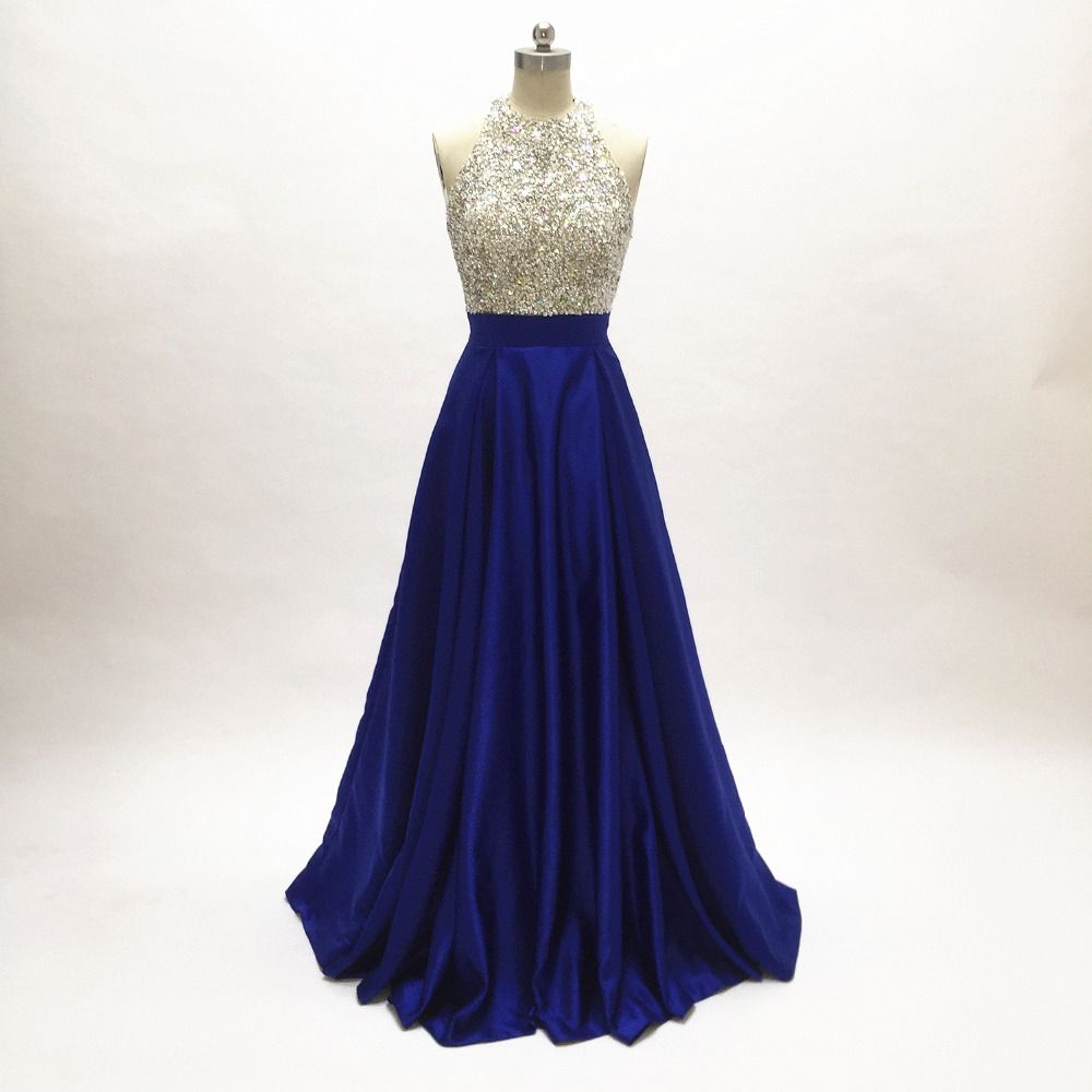 Top Beaded Long   Prom     Dresses   2019 Satin Ball Gown for Party   dress   floor length Royal Blue formal evening gowns sleeveless