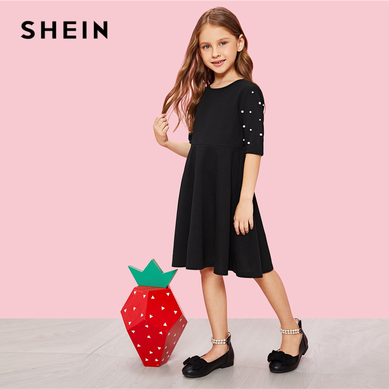 SHEIN Girls Black Pearl Beading High Waist Casual Dress Girls Clothing 2019 Spring Fashion Half Sleeve A Line Girls Dresses girls fashion black leather backpack women travel bags small backpacks for teenage girls pu leather shoulder bag girl bagpack