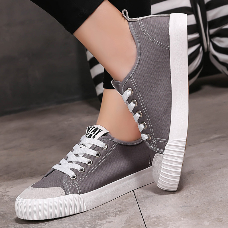 Women vulcanize shoes designer sneakers 2019 spring new arrival sewing canvas shoes women sapatos feminino large size 35-44
