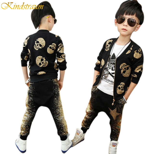 2017 Autumn & Spring Boys Clothing Sets with Skull Print Children Streetwear European Style Jacket + Pants Kids Suits, HC483 children camouflage clothing sets 3pcs tshirt pants vest sportswear boys girls spring autumn roupa de menino casual streetwear