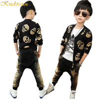 2015 Autumn Spring Boys Clothing Sets With Skull Print Children Streetwear European Style Jacket Pants Kids