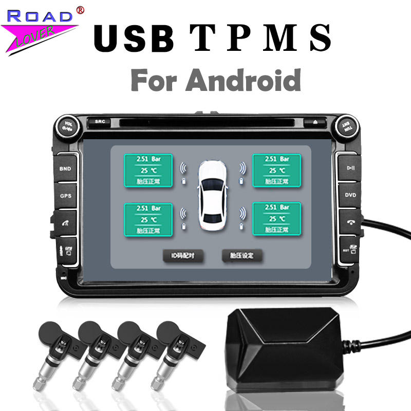 USB TPMS Tire Pressure Monitoring System Android Tire Pressure Monitor Wireless Transmission 4 External For Most Vehicles TPMS