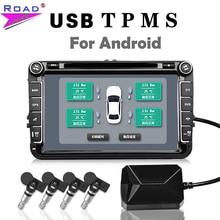 USB TPMS система контроля давления в шинах Android монитор давления в шинах Беспроводная передача 4 внешних для большинства транспортных средств TPMS