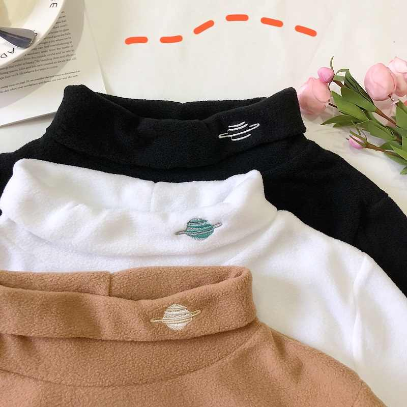 Tight Female T-shirt 2019 New Inside Long Sleeve Female Korean Student Half-high Collar Slim Embroidery Women Bottoming T- Shirt